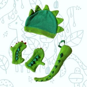 Dinosaur Kid Knitted Hat set with gloves and tail green